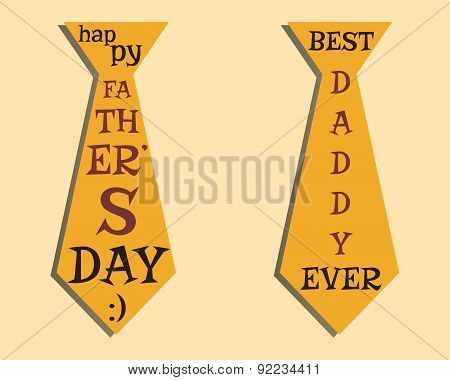 Happy Fathers Day elements. Orange Tie and lettering inside. Best for thematic party. Isolated on br