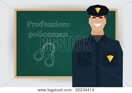 Occupation policeman profession. Vector illustration.