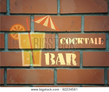 Retro poster design for cocktail lounge bar. Cocktail party concept. Vintage design for bar or resta