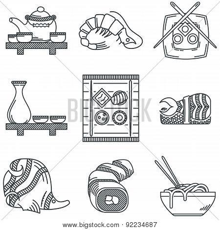 Japanese menu black line vector icons