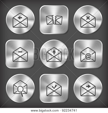 Mail set. Vector round and square steel buttons.
