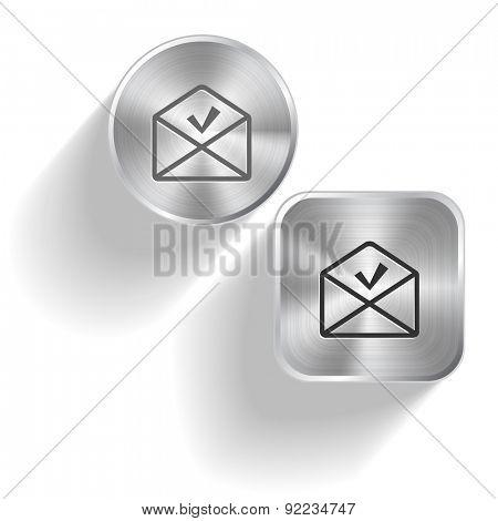 mail ok. Vector set steel buttons