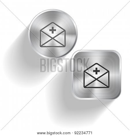 mail plus. Vector set steel buttons
