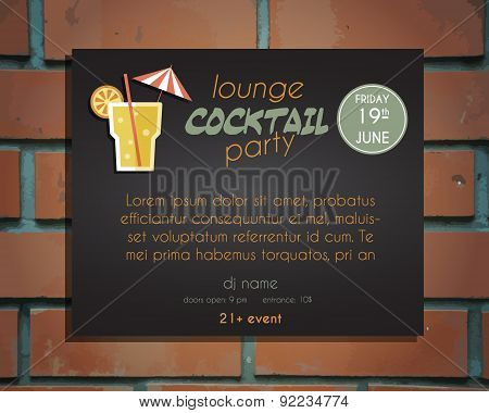 Lounge cocktail party poster invitation template with Screw driver cocktail. Vintage design for bar