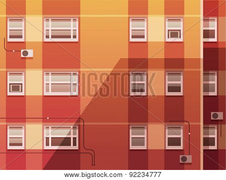 Sunset city. Wall of the building. Vector illustration.