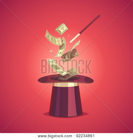 Magic hat and money. Isolated object \ background.