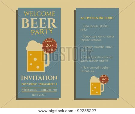 Beer party flyer invitation template with glass of beer. Vintage design for club, pub or night beer