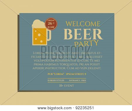 Beer party poster invitation template with glass of beer. Vintage design for club, pub or night beer