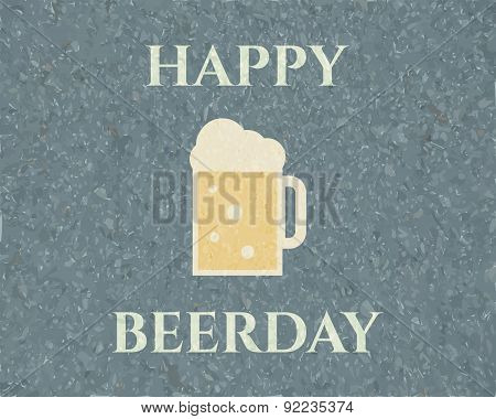 Happy beerday background. Poster and banner design template. Retro colors. Can be used as icon, logo