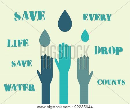 Save water poster concept with drops and hands. With eco keywords. Ecology water crisis background.
