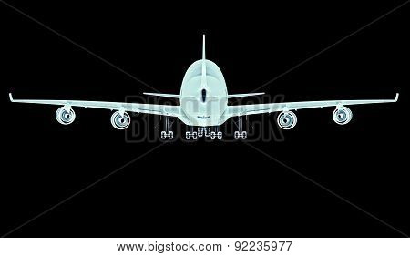 X-ray Plane Isolated On A Black Background