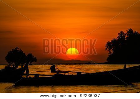 Sunrise With Beautiful Beach And Tropical Sea