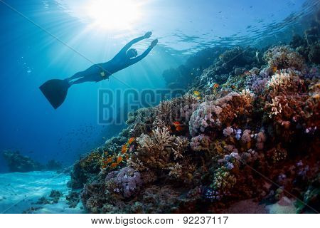 Lady freediver gliding underwater over vivid coral reef