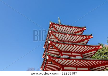 Chureito Peace Pagoda Against Blue Sky