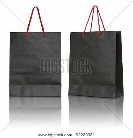 Black Paper Bag On White Background