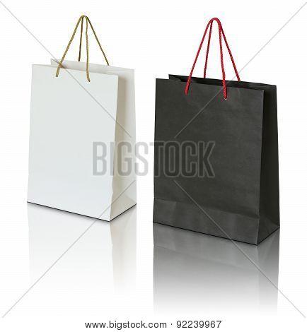 Black And White Paper Bag On White Background
