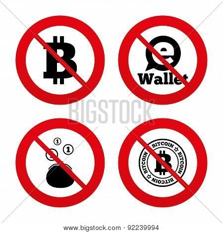 Bitcoin icons. Electronic wallet symbol.