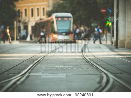 tram tracks and a tram on the street of Munich, Bavaria, Germany