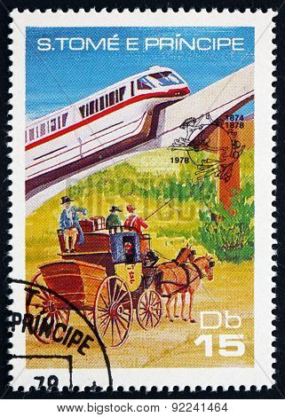 Postage Stamp Sao Tome And Principe 1978 Monorail And Stagecoach