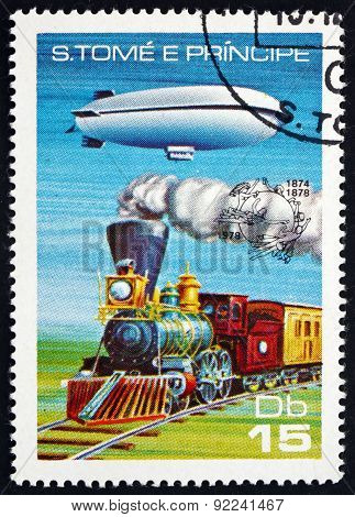 Postage Stamp Sao Tome And Principe 1978 Dirigible And Steam Loc