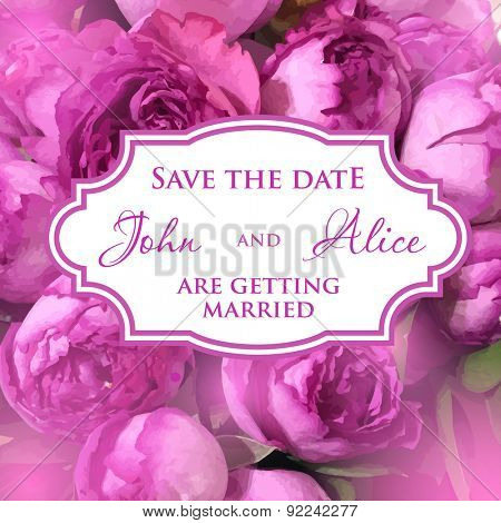 Wedding invitation card with retro frame on cute peony roses background. Vector.