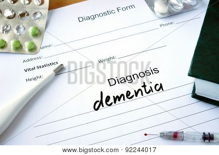 Diagnostic form with Diagnosis dementia.