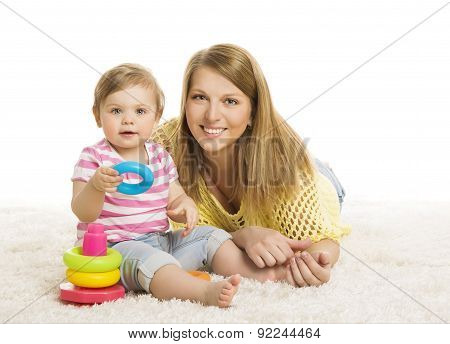 Baby And Mother, Kid Playing Blocks Toy, Early Children Development Toys, Young Family, Little Child
