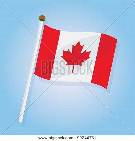 Abstract tilted Canada flag icon on blue gradient background