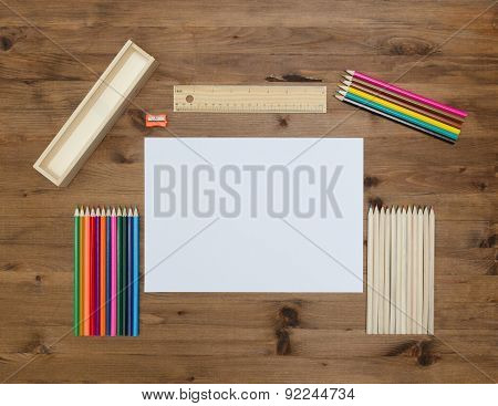 Paper sheet  and painting supplies