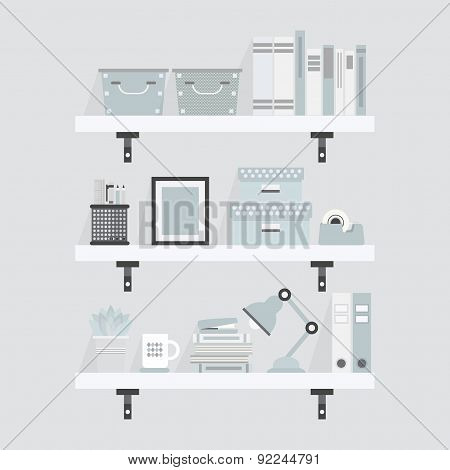 Pretty white and teal shelves and decoration objects