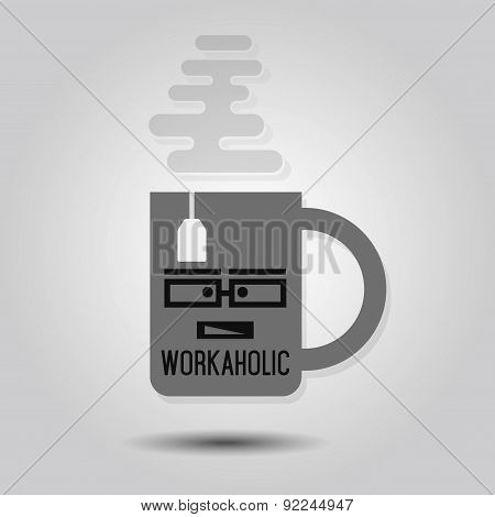 Workaholic Mug - Abstract single mug with tea bag