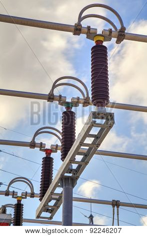 High voltage switchyard in electrical substation