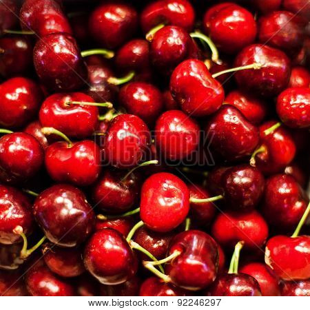 Red Sweet Cherries As A Background  Full Frame Close Up. Cherry Selection Macro
