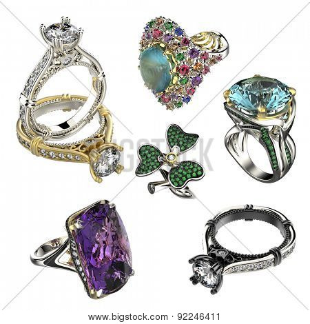 Collection with  Diamond Rings. Jewelry background