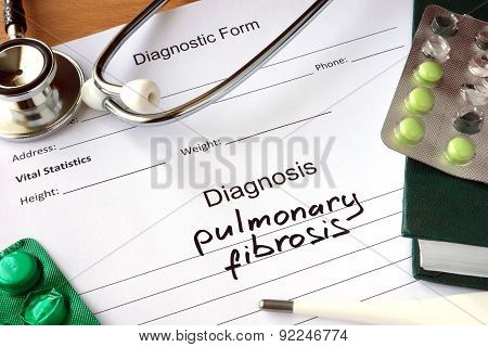 Diagnostic form with Diagnosis pulmonary fibrosis.