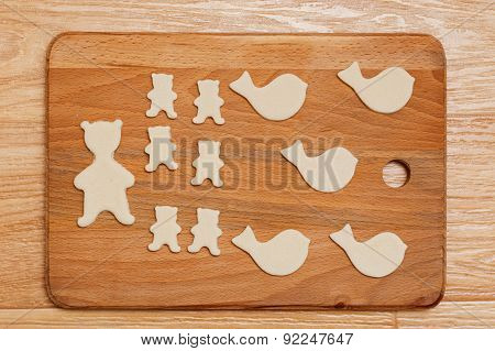 Cookies In The Form Of Animal Figures. Top View