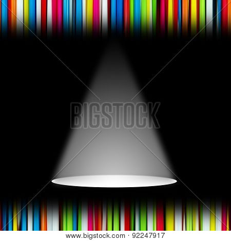 White Light Sources On Black Stage For Presentation Concept