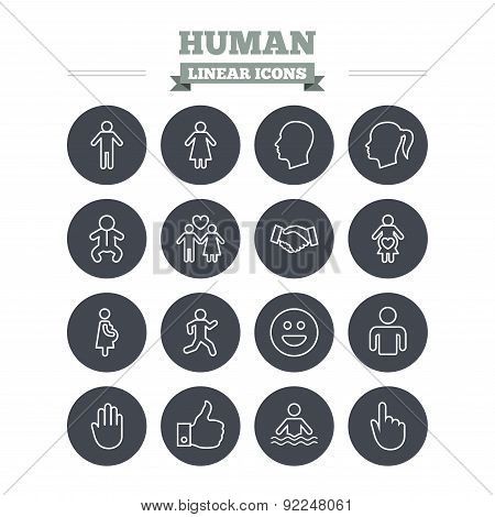 Human linear icons set. Thin outline signs. Vector