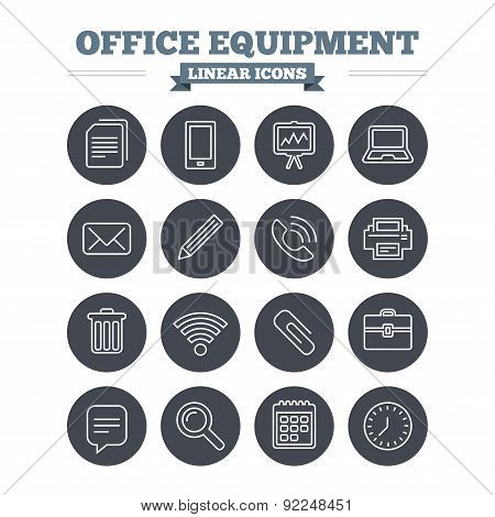 Office equipment linear icons set. Thin outline signs. Vector