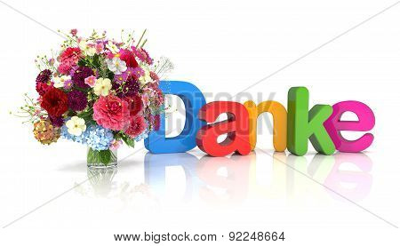 3D Text - Thank You - Flowers