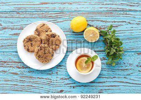 Lemon Tea Mint Fresh Drink Raisin Cookies Summer Refreshment Still Life