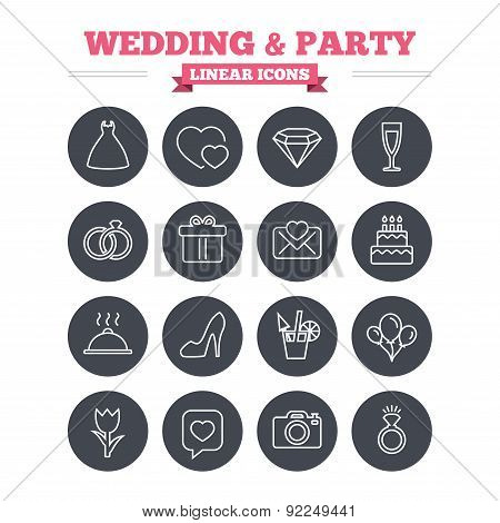 Wedding and party linear icons set. Thin outline signs. Vector