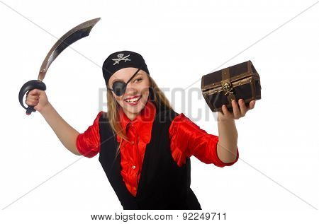 Pirate girl holding chest box and sword isolated on white
