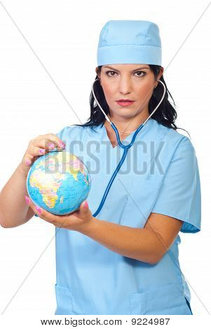 Doctor Woman Examine World Globe