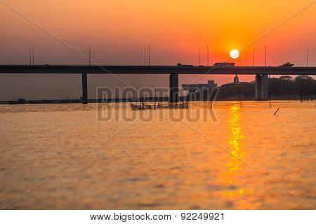 modern bridge over the Yangtze River at sunset.