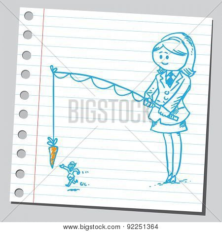Businesswoman with motivation carrot on stick (motivation concept)