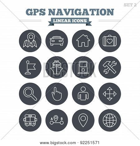 GPS navigation linear icons set. Thin outline signs. Vector