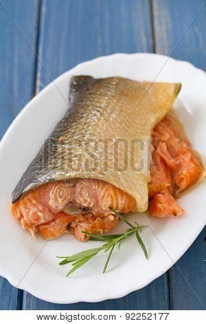 Smoked Salmon On Dish On Blue Background