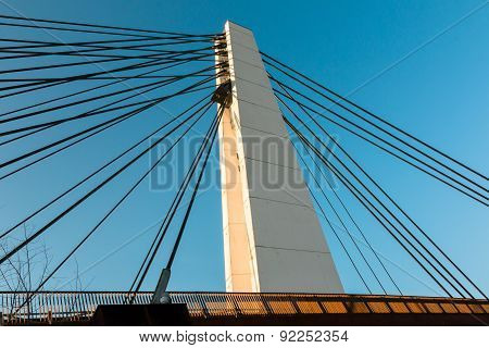 White Steel Cable Bridge In Modern Architecture Style