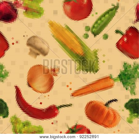 Pattern pixel vegetables kraft